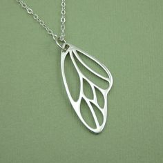 Butterfly Wing Necklace - sterling silver - pendant - handcrafted - butterfly jewelry on Etsy, $39.00