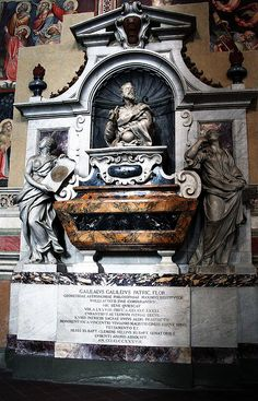The tomb of Galileo Galilei, which is inside the church of Santa Croce, in Florence.