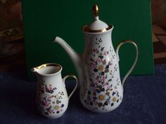 Vintage USSR Latvia Riga RPR Cofee pot Creamer Fine white  1970s #37