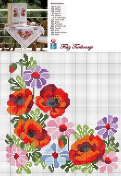 Dolabın altında da bir örtü varmış... Tam da bahçelere yakışacak cinsten :) Designed and stitched by Filiz Türkocağı...