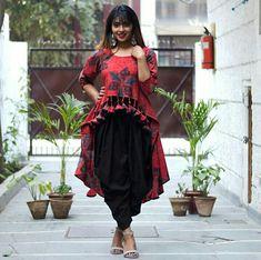 Ajrakh High Low Top & Dhoti Pants with Tassel Details & Pockets - Designer Dresses Couture Designer Party Wear Dresses, Kurti Designs Party Wear, Indian Designer Outfits, Indian Outfits, Stylish Dress Designs, Stylish Dresses, Sleeves Designs For Dresses, Dress Indian Style, Indian Gowns