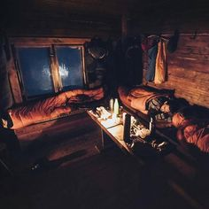 Staying cozy in the cold - anyone else who spend a night this winter in an old cabin? No electricity, no running water, no reception, just some good time with your friends! Photo by. Camping Places, Camping And Hiking, Outdoor Camping, Monuments, Old Cabins, Nature Music, Survival Life, Survival Gear, The Mountains Are Calling
