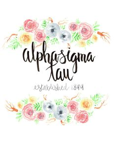 Alpha Sigma Tau Big/Little Gift Floral Art by artworkbydanika