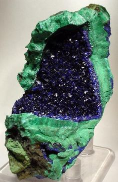 A STRIKING Dark blue azurite crystals in a matrix of chatoyant, layered malachite. A STRIKING Dark blue azurite crystals in a matrix of chatoyant, layered malachite. Credit: The Arkenstone Amazing Geologist Minerals And Gemstones, Rocks And Minerals, Natural Crystals, Stones And Crystals, Azurite Malachite, Rare Gems, Beautiful Rocks, Mineral Stone, Rocks And Gems