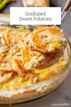 Scalloped Sweet Potatoes Recipe / These creamy sweet potatoes are the perfect holiday side dish. Pretty, colorful, and just plain delicious. #sweetpotato #glutenfree #vegetarian #thanksgiving #sidedish Simply Recipes, Top Recipes, Side Dish Recipes, Great Recipes, Party Recipes, Sweet Potato Dishes, Sweet Potato Recipes, Quinoa Dishes, Food Dishes