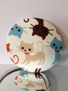 Cat fabric covered handbag mirror by HeartsnCraftsUK on Etsy