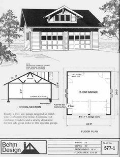 Craftsman Style 2 Car Garage Plan 577-1 by Behm Design