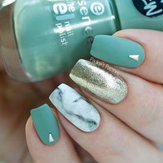 I'm in love with this simple marble look  the beautiful sage green is #essencecosmetics Pretty Cool Life & the golden accent is #cirquecolors Reflektor. I used #purecolor nail art brushes (from #whatsupnails) to create this marble accent. #marblenails #marblenailart