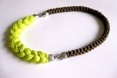 statement necklace -  neon rope necklace - earth tones and neon yellow - neon jewelry. $45.00, via Etsy.