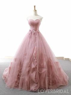 Pink Ball Gown Sweetheart Tulle Applique Wedding Dress – … – New Ideas – Wedding Gown Blush Prom Dress, Cute Prom Dresses, Long Prom Gowns, Sweet 16 Dresses, Backless Prom Dresses, Tulle Prom Dress, Ball Dresses, Pink Ball Gowns, 15 Dresses