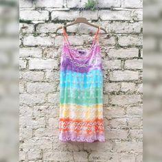 Rainbow Dress Tie Dye Beaded Mini Dress to fit UK by AbiDashery