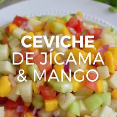 Jicama and mango salad (easy and healthy) - - Veggie Recipes, Mexican Food Recipes, Vegetarian Recipes, Cooking Recipes, Healthy Recipes, Microwave Recipes, Tasty Videos, Food Videos, Comida Diy