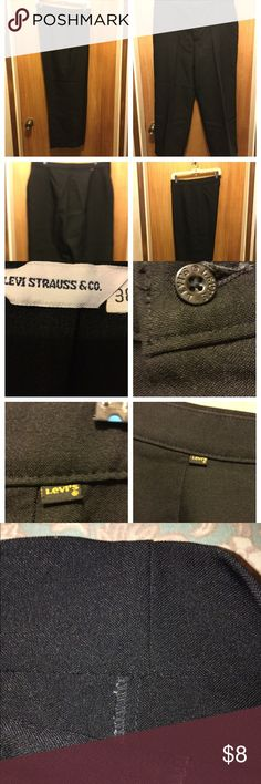 """Black dress slacks Vtg  no pockets, not much wear, hem can be let out approximately 1 1/2"""" is hem depth. Waist 38"""" Rise 14"""" Inseam 27"""" Levi Strauss Co. Pants Trousers"""