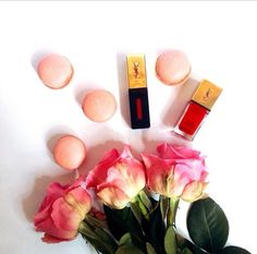 YSL kosmetyki! #ysl #lipgloss #macarons #pink Voss Bottle, Water Bottle, Ysl, Macarons, Lip Gloss, Pink, Water Bottles, Macaroons, Gloss Lipstick