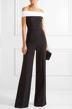 Roland Mouret - Neilson Off-the-shoulder Stretch-crepe Jumpsuit - Black - UK Formal Jumpsuit, Black Jumpsuit, Jumpsuit Elegante, Mode Pop, Two Piece Jumpsuit, Gilet Long, Look Fashion, Womens Fashion, Formal Wear