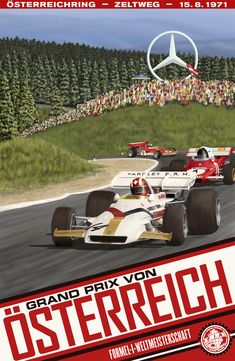 BAPOM Poster 'zeltw71' - part of a collection of race posters for the game Grand Prix Legends. Higher res versions available on the website.  Austrian Grand Prix 1971 | Zeltweg