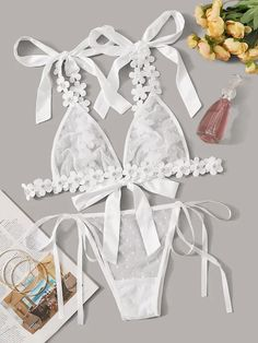 To find out about the Applique Polka Dot Mesh Sheer Lingerie Set at SHEIN, part of our latest Sexy Lingerie ready to shop online today! Belle Lingerie, Lingerie Mignonne, Sheer Lingerie, Pretty Lingerie, Beautiful Lingerie, Lingerie Sleepwear, Lingerie Models, Lingerie Set, Ensemble Lingerie