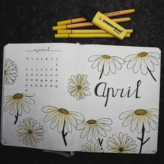 Bullet journal monthly cover page, April cover page, Daisy drawings, hand lettering. Bullet Journal Student, April Bullet Journal, Bullet Journal Travel, Bullet Journal Banner, Bullet Journal Monthly Spread, Bullet Journal Cover Page, Bullet Journal Layout, Bullet Journal Inspiration, Journal Ideas