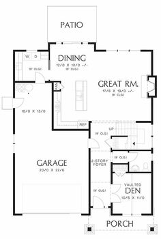 Craftsman Style House Plan - 3 Beds 2.5 Baths 2211 Sq/Ft Plan #48-458 Floor Plan - Main Floor Plan - Houseplans.com