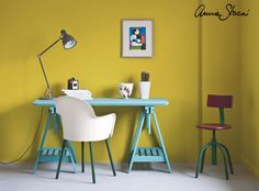 Annie Sloan painted this vibrant office space in colours perfectly suited to a Modern Retro look. A desk painted in cool Provence is set against a sunny English Yellow wall. The metal legs on the two chairs have also been painted in cool greens. You could paint the walls in Chalk Paint® but for a tough, scrubbable finish, try our Wall Paint. All the furniture was sealed with Chalk Paint® Wax before being put to use.