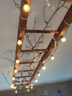 15 Simple How To Repurpose Vintage Ladder Ways That Are A Worth Choice - Top Inspirations Vintage Chandelier, Chandelier Lamp, Chandelier Chain, Vintage Lighting, Chandelier Ideas, Wooden Chandelier, Outdoor Chandelier, Chandelier Makeover, Luminaire Design