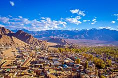 View from the Leh Palace of the city of Leh in Laddakh, India