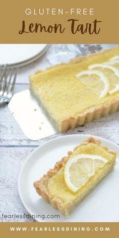 This homemade gluten free lemon tart is a delicious gluten free dessert you can enjoy all year long! Flaky crust and sweet tart lemon flavor, this dessert will be popular with a crowd. fearlessdining Gluten Free Picnic, Gluten Free Party Food, Gluten Free Sweets, Gluten Free Cakes, Gluten Free Baking, Lemon Dessert Recipes, Tart Recipes, Gf Recipes, Dinner Recipes