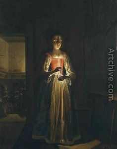 Young woman with an oil lamp - Wolfgang Heimbach