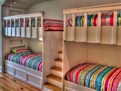 This cozy kids' room has space for four thanks to custom built-in bunks in a sleeping alcove. Turn the bottom bunks into full beds w the heads under and feet out. Then it'll sleep Shared Bedrooms, Awesome Bedrooms, Cool Rooms, Awesome Beds, Beach Bedrooms, Bunk Beds With Stairs, Kids Bunk Beds, Bed Stairs, Loft Beds