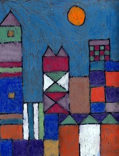 Pastel on Acetate.  Use a grid to create the buildings, lay acetate over and draw over lines with Sharpie, then add oil pastel color on the BACK.  Mount on top of a black sheet of paper!