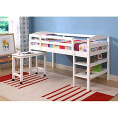 Twin Wood Loft Bed With Desk And Shelving, White