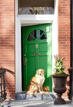 61 Ideas For Red Front Door Ideas Curb Appeal Benjamin Moore Check more at Bright Front Doors, Yellow Front Doors, Front Door Colors, Green Doors, Green Shutters, Exterior Entry Doors, Front Door Entrance, Front Door Decor, Door Entry