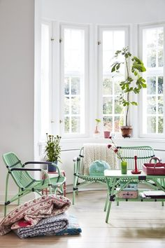 Green Cane Indoor Ooutdoor furniture in Beautiful Spring Colors from RICE