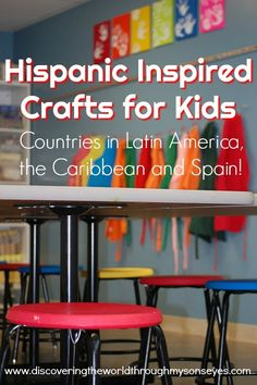 It's Hispanic Heritage Month, and do I have a treat for you! Hispanic inspired crafts for kids from countries in Latin America, the Caribbean, and Spain! With kids craft, you're sure to find a… Elementary Spanish, Teaching Spanish, Preschool Spanish, Spanish Classroom, Spanish Art, Spanish Lessons, Spanish Games, Learn Spanish Online, Cultural Crafts