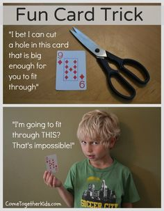 Do your kids like card tricks? Card magic is very popular however some card tricks require years of practice. The Come Together Kids we. Card Tricks For Kids, Cool Card Tricks, Magic Tricks For Kids, Magic Card Tricks, Babysitting Activities, Activities To Do, Babysitting Fun, Summer Activities, Funny Pranks For Kids