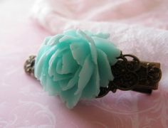 Large aqua flame rose and filigree bronze hair by AdornMeJewelry, $5.00 #ibhandmade