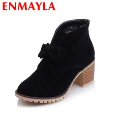 Find More Women's Boots Information about ENMAYLA New Flock Slip on Fashion Bowtie Boots Autumn/Winter Shoes Woman Round Toe Platform Women Casual Shoes Large Size 34 43,High Quality winter shoes women,China boots autumn Suppliers, Cheap winter shoes from YQZ on Aliexpress.com