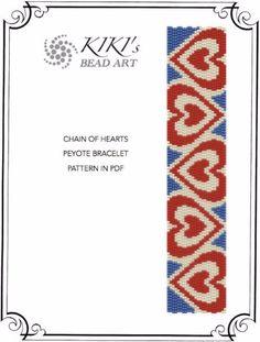 Pattern peyote bracelet Chain of hearts pattern por KikisBeadArts