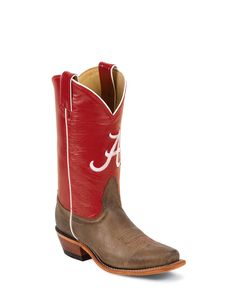 Nocona Women's Alabama Logo Tan Vintage Boot---comes in a bunch of different teams! Love the colored shaft!