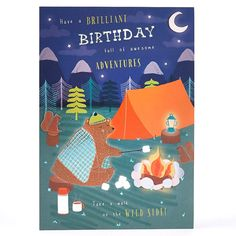 Birthday Card - Camping Bear Adventure - Happy Birthday Greetings  IMAGES, GIF, ANIMATED GIF, WALLPAPER, STICKER FOR WHATSAPP & FACEBOOK