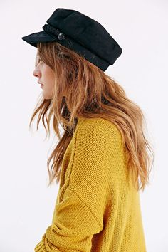 Greek Fisherman Hat with slouchy yellow sweater