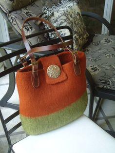 Orange and Green Wool Felt Large Handbag or tote by susanbflanagan, $275.00