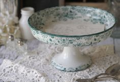 Antique French Ironstone (terre de fer) Cake Stand/Compote Floral Teal Transferware - circa 1900's.