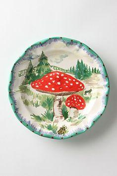Nathalie Lete Plates from Anthropologie Ceramic Plates, Ceramic Pottery, Ceramic Art, Decorative Plates, Painted Pottery, Fungi, Dinner Plates, Dessert Plates, Decoration