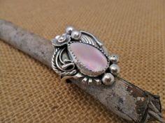 Classic Navajo Ring Featuring Pink Shell Teardrop Stone.    www.EagleDancerGallery.com