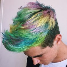 28 Top Pompadour Haircuts for Men Trends) - Style My Hairs Hair Dye Tips, Dyed Tips, Pelo Multicolor, Mens Hair Colour, Hair Colors, Blond Ombre, Dyed Hair Pastel, Hair Streaks, Male Hairstyles