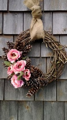 summer wreath, spring wreath, floral wreath, pinecone wreath    READY TO SHIP!!!    What a beautiful, natural combination. Pink Ranunculus, Maine (floral wreaths) #ranunculuswreath