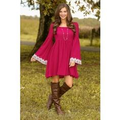 A Walk In The Park Dress-Wine - $48.00