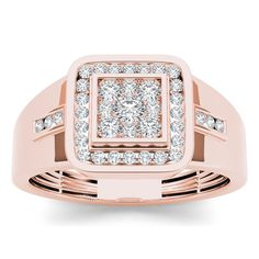 Handsome and noteworthy, this diamond fashion men's ring suits his distinguished style. Crafted in rose gold, the ring features a squared cluster of shimmering round diamonds at its center while a pai