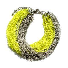 Multi Strand Neon Yellow & Silver Chain Necklace